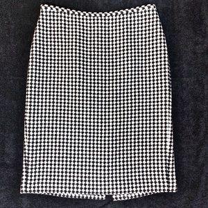 Loft Wool Blend Houndstooth Print Pencil Skirt 8